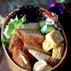 竹の子土佐煮/曲げわっぱ/だしまきたまご/ササミチーズフライ/お弁当/暮らし こんにちは^ ^  今日も良いお天気で暖…