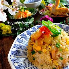 夕飯/野菜ナムル/手羽の塩焼き/海苔スープ/海老チャ〜/チャーハン こんばんは^ ^  昨日からお天気で良き…