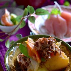 酢の物/お味噌汁/ヨコワ/リミアな暮らし/肉じゃが こんばんは^ ^  一日雨が降り続く和歌…