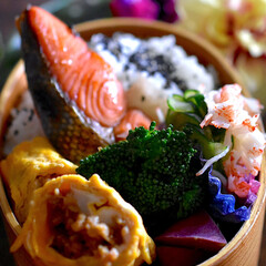 鮭弁/お弁当/フォロー大歓迎 おはようございます😊 今日のお弁当です☘…