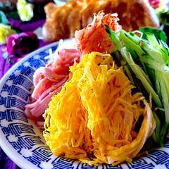 夕飯/献立/水菜煮浸し/餃子/冷やし中華 こんばんは^ ^  早いもので今日から5…