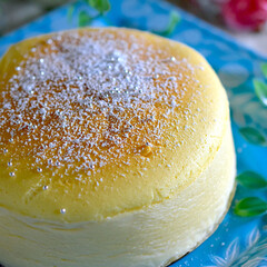 懐かしむ/おやつ/スフレチーズケーキ/暮らし おはようございます😊  今朝は快晴の和歌…