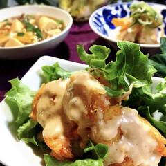 豆腐あんかけ/食材整理/海老マヨ/フォロー大歓迎 今夜の夕飯です^ ^  日中の暖かさとは…