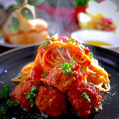 フォカッチャ/シーザーサラダ/カリオストロの城スパゲティー/ジブリ飯/フォロー大歓迎/食事情 こんばんは^ ^ 今夜の夕飯は、ジブリ飯…