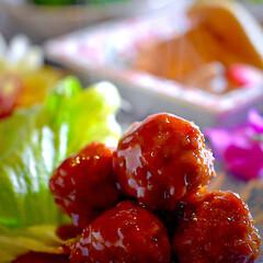 ブロッコリーサラダ/炊き合わせ/肉団子甘酢/フォロー大歓迎 こんばんは^ ^ 今夜の夕飯です^ ^ …