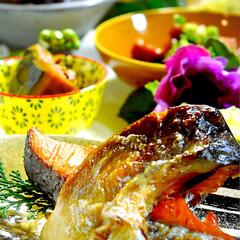 砂肝旨辛/豚汁/紅鮭/カボチャ煮付け/フォロー大歓迎 今夜の夕飯です^ ^  お休みの今日、バ…