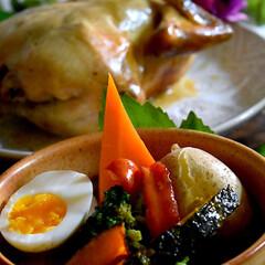 野菜サラダ/鶏の丸焼き/感激/ありがとうございました/スープカレー/フォロー大歓迎 今夜の夕飯です^ ^  昨日送って頂いた…