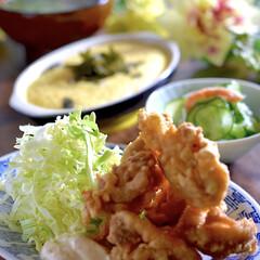 きゅうりの酢の物/お味噌汁/リミアな暮らし/唐揚げ こんばんは^ ^  今日の1日は暖かで過…