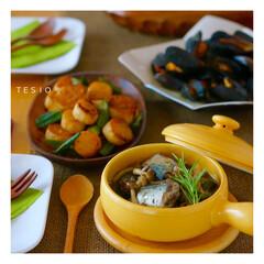 さんま/アヒージョ/秋の味覚/食欲の秋/オリーブオイル/おうちごはん/... 手前から、さんまのアヒージョ・長芋とオク…