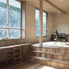 リビング/書斎/杉床/ローコスト 森の近くの穏やかなたたずまいです。 リビ…