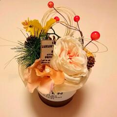 お正月アレンジ/ハンドメイド/100均/インテリア/お正月飾り お正月アレンジ黄色系
