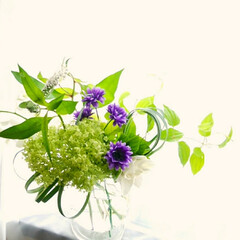 アレンジ/切り花/グリーン/生花/造花/紫陽花/... 紫陽花(アナベル) 紫の花だけフェイクで…