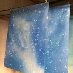 流し染め/染色仕上/和紙 和紙染め  星のテーマ  流し染め作品
