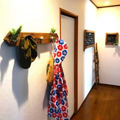 niko and…/いなざうるすや/漆喰風壁紙/カフェ風/廊下/一時収納/... 一時的な収納ですが、 玄関入ってからの廊…