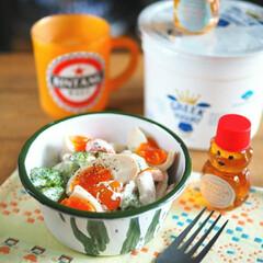 タンパク質/盛り付け術/料理/カフェ風/おうちカフェ/デリ風サラダ/... ブロッコリーと味たまのヨーグルトサラダ。…