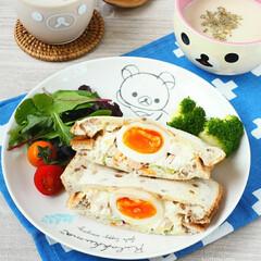 レシピ/料理/筋トレ女子/ランチ/朝ごパン/サンドイッチ/... ローソンのリラックマプレートでホットサン…