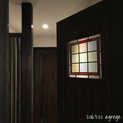 ステンドグラス/アンティーク/大正ロマン/レトロ/インテリア/室内ドア/... 先日キッチン対面カウンター下造作収納の画…