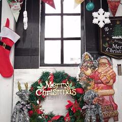 ダイソー/オーナメント/雪の結晶/ガーデン/小屋 お庭にある小屋に中にもクリスマスディスプ…