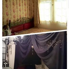 天蓋/天蓋ベッド/ベッドルーム/DIY/ハンドメイド DIYシリーズ♪ 天蓋ベッドに憧れて、自…