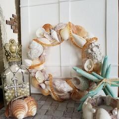 キャンドルホルダー/LEDキャンドル/貝殻/貝殻リース/ハンドメイド/100均/... リース繋がりで、今度は貝殻のリースを♪ …