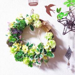 簡単/造花アレンジ/アレンジメントフラワー/リース/ダイソー/セリア/... 100均の花でしめ縄から春らしいリースに…