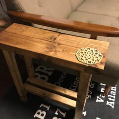 サイドテーブルDIY/セリア 端材でサイドテーブルDIY(1枚目)