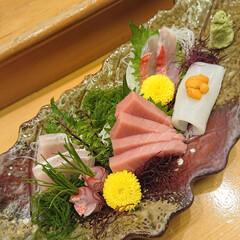 牛炙り握り/お刺身盛り合わせ/お出かけ/車海老塩焼き 久しぶりに大好きなお寿司屋さんに!