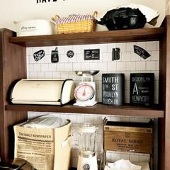 麻袋/ジュートボックス/キッチンスケール/ミキサー/木箱リメイク/すのこリメイク/... キッチンのオープン棚です♩♪ こちらには…