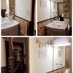 カフェ風/洗面所/狭い洗面所/洗面台リメイク/洗面台/DIY/... 洗面所の全体が見たいとリクエストを頂きま…