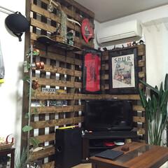 スケボ/流木/雑誌置き 飾るスペース欲しかったんでテレビ後ろに作…
