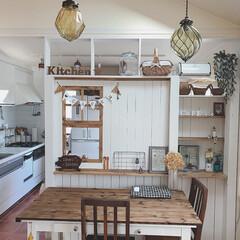 リメイク/ラブリコ/パーテーション/DIY/インテリア/住まい/... オープンキッチンに、仕切りのパーテーショ…