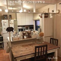 独立型キッチンへ/オープンキッチン/キッチン/インテリア/天板DIY/ダイニングテーブルリメイク/... パーテーションを作る前は、アイランドカウ…