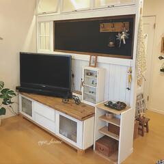 ローズガーデンカラーズ/ブライワックスラスティックパイン/黒板DIY/棚/パーテーション/DIY/... DIYとリメイクコーナーです😊 黒板パー…