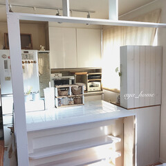 オープンキッチン/キッチン/ワンバイフォー/ラブリコ/DIY/インテリア/... アイランドカウンターの全面にある、下の飾…