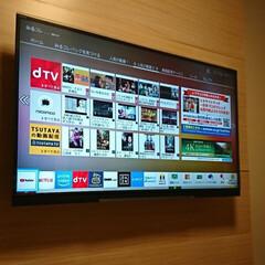 壁掛けテレビ/DIY/プラダン/時計/ディアウォール/カッティングシート ついに我が家もテレビを壁掛  壁面に時計…