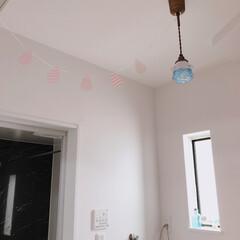 パステルカラー/楽天/照明/ガーランド/洗面所/雑貨/... セリアで雨模様の可愛いガーランドを見つけ…