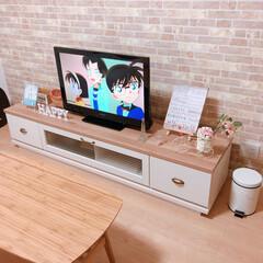 テレビボード/リビングインテリア/リビング/インテリア/家具/住まい/... 我が家のテレビボードは、テレビの大きさの…