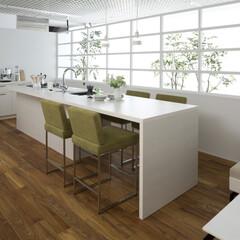 キッチン/ダイニングルーム/LDK、家具 ダイニングが一体になったキッチン。 自然…