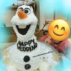 ディズニー/アナ雪/オラフ/ウェディング/ケーキ/カフェ/... アナと雪の女王に出てくるオラフのウェディ…