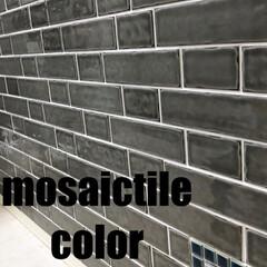 コンセントカバー/ももたくママ/モザイクタイル/DIY tile/タイル/洗面所/... 洗面所のベースがほぼ完成〜(-^艸^-)…