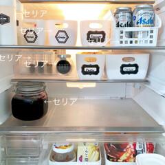 冷蔵庫収納/ももたくママ/100均/セリア/収納 冷蔵庫収納は100均♪  ホワイト統一で…