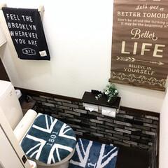 ももたくママ/レンガ柄シート/プレミアムウォールデコシート/トイレ/DIY/雑貨/... 床はダイソーのフロアマットのダークに♪ …(2枚目)