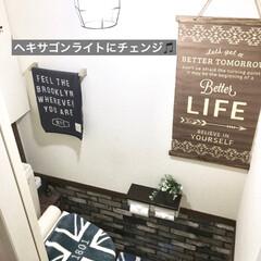 ももたくママ/レンガ柄シート/プレミアムウォールデコシート/トイレ/DIY/雑貨/... 床はダイソーのフロアマットのダークに♪ …(5枚目)