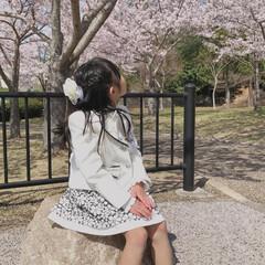 ももたくママ/入学式コーデ/春のフォト投稿キャンペーン/春/ファッション 新1年生になりました😊  満開の桜🌸で入…