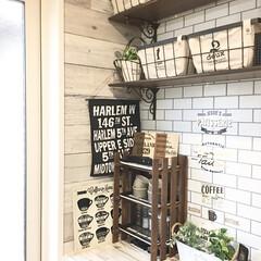 壁紙屋本舗/コードレス/salut/スノコカフェ棚/シェルフDIY/DIY/... お気に入りの場所(-^艸^-)  カフェ…