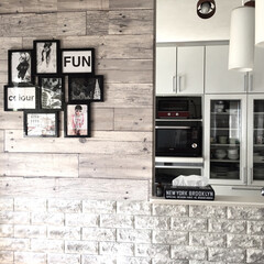 IKEA/男前インテリア/グレーインテリア/壁紙屋本舗/山善ドリームクッションレンガ/DIY RoomClipのイベントでキッチン賞い…