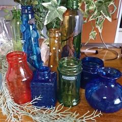 ターナー色彩 ガラスペイント 琥珀 40ML | ターナー(その他接着、補修材料)を使ったクチコミ「暑い暑いと言いながら💦💦 空き瓶リサイク…」(3枚目)