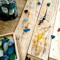 お家時間/木を大切に/時計DIY/シーグラス/ハンドメイド/手作り/... こちらは、以前廃材でDIYしました、時計…(4枚目)
