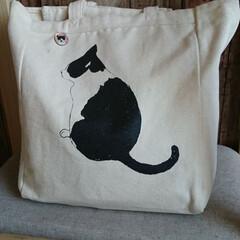 バック/ねこ/ペット バックもやっぱり白黒❗ お気に入りの「猫…
