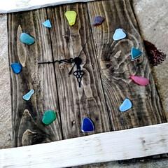 お家時間/木を大切に/時計DIY/シーグラス/ハンドメイド/手作り/... こちらは、以前廃材でDIYしました、時計…(2枚目)